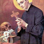 St. Aloysius with cross, lilly & skull